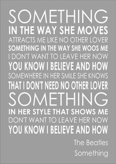 Something - The Beatles -  Word Wall Art Typography Words Song Lyric Lyrics