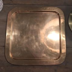 """New spin on the brass tray. Shiny square tray. 12.75"""". $38 Leave email and zip to purchase. #brassisback #shopthealist #brasstray"""