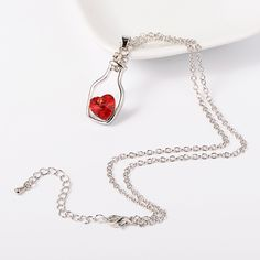 Chain Necklaces with Alloy Rhinestone Drift Bottle Pendant