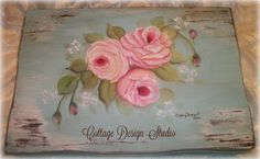 shabby pink roses flatware box vintage by CottageDesignStudio