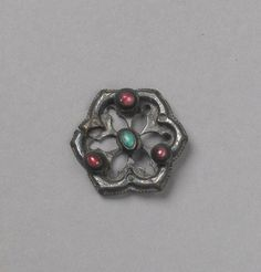 Ring Brooch Date: first half 14th century Culture: Western European Medium: Silver, turquoise, glass paste Dimensions: Overall Diameter: 1 1/8 in. (2.9 cm)