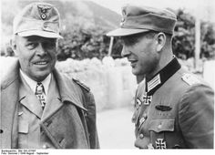 Field Marshal Albert Kesselring with Oberst (Colonel) Ferdinand Hippel in August 1944. Kesselring, in charge of the defense in Italy, succeeded in delaying Allied forces for months through a combination of attack and fortification.