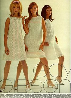 White lace    From Seventeen, April 1967. Model Colleen Corby. - {I had one similar to the middle one for my high school graduation, in baby blue}