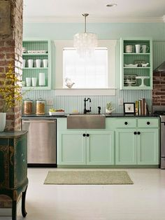 maybe a shade less minty, but I like the idea of green, to go with the green/brown scheme of the rest of the house.