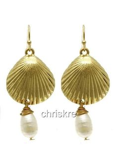Gold Freshwater Pearls Shell Earrings Pierced Dangle Sea Life Shells USA Seller #PURECollection #DropDangle