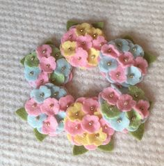 Pretty Pastels Wool Felt Mini Hydrangeas