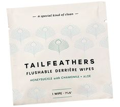 Tailfeather Flushable Wipes | Made with soothing Aloe & Chamomile