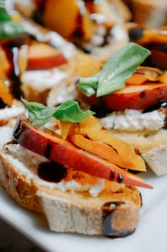 Summer picnic idea: Goat cheese, nectarine and basil crostini with a balsamic reduction drizzle.