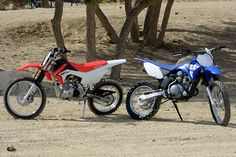 The Honda (left) and Yamaha (right) pack a lot of fun into small, user-friendly packages that are fun for the whole family. Dirtbikes, Motocross, Yamaha, Honda, Motorcycle, Wallpapers, Cars, Vehicles, Fun