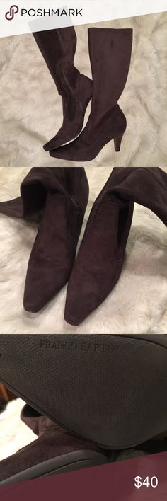 """Franco Sarto Brown Suede High Heel Boots These boots are in a size 9 and are in an espresso brown color. These boots are suede with a 3 1/4 inch heel and zipper enclosure. They are in like new condition and hit just below the knee (depending on height & build).  -Not Accepting Trades  -Note to """"Scammers"""": I film my entire packing process so don't even try it. ❤️😘 Franco Sarto Shoes Heeled Boots"""