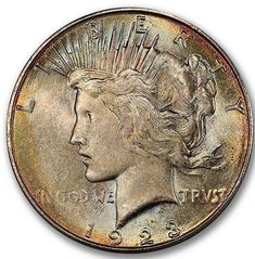 Color on this Peace Dollar with a grade and CAC Approval! Us Coins, Rare Coins, Peace Dollar, Half Dollar, Silver Bars, Larry, Auction, Color, Colour