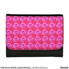 Pink Roses Bokeh, Ladies Medium Leather Wallet