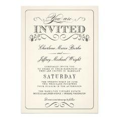 Vintage White Elegant Wedding Invitations  #wedding #invitations