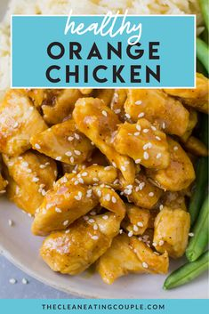 Skip the takeout & make this Healthy Orange Chicken Recipe for dinner! Paleo, gluten free + delicious - it's one of the best healthy chicken recipes! You can make it on the stove or in the instant pot. The sauce is the best part - you'd never know it's clean eating! Made with just a few simple ingredients, it's tasty and easy to make! #paleo #glutenfree #dairyfree #healthy