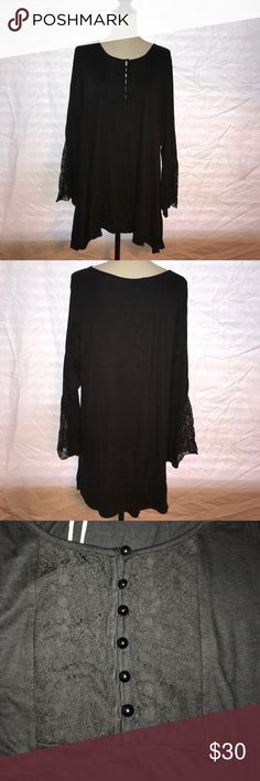 Women's Araza Tunic Top, Size 2X This top is brand new with tags.  It is a tunic style with bell sleeves and has some beautiful lace on those sleeves. It has a decorative lace and button front. It is 100% polyester and a hand wash item. Araza Tops Tunics