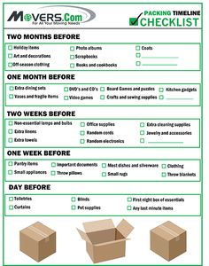 This checklist will help you figure out when you start packing various items. This will help you pack more efficiently and keep you on a packing timeline. Moving House Tips, Moving Home, Moving Day, Moving Tips, Moving Hacks, First Home Checklist, Moving Checklist, Moving Planner, Packing To Move