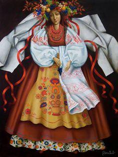 """Olga Kovtun (Ukraine) """"The Autumn"""" Ukrainian Dress, Ukrainian Art, Folk Dance, Dance Art, Ukrainian Christmas, Examples Of Art, Traditional Outfits, Illustrators, Fairy Tales"""