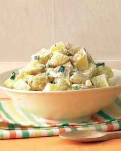 Basic Potato Salad - Yukon Gold potatoes have a creamy texture even when chilled, making them perfect for potato salad. A mixture of white-wine vinegar, light mayonnaise, and minced scallions creates an easy, well-balanced dressing.