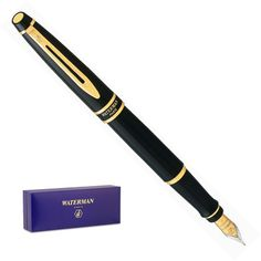 Waterman Expert Lacque Black Gold Trim Fountain Pen