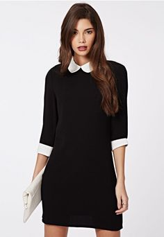Shayne Peter Pan Collar Shift Dress Monochrome - Dresses - Shift Dresses - Missguided