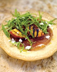 grilled peach salad with bresaola and a creamy dressing
