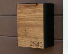 Modern Mailbox Narrow Mahogany Wall Mounted mailbox by CeCeWorks