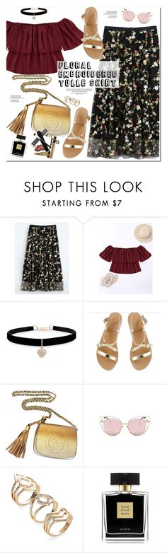"""Floral Embroidered Tulle Skirt"" by oshint ❤ liked on Polyvore featuring Betsey Johnson, Ancient Greek Sandals, Gucci, Avon and zaful"