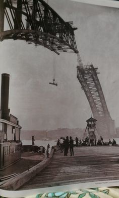 Construction of the Sydney Harbor bridge from Australian Traveler magazine. #Australia