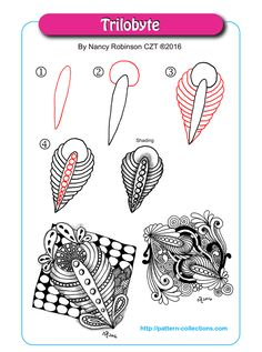 Trilobyte Tangle, Zentangle Pattern by Nancy Robinson Tangle Doodle, Tangle Art, Zen Doodle, Doodle Art, Zentangle Drawings, Doodles Zentangles, Doodle Drawings, Doodle Patterns, Line Patterns
