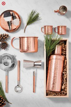 A Christmas gift for your favorite host? A barware set that is as beautiful as it is durable. Perfect for holiday parties and gatherings, this copper barware features a classic design with upscale, hand-hammered detailing. Find all the tools necessary to stock the bar, like mugs, shakers, strainers, bottle openers and mugs. All are great for year-round entertaining.