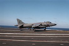 A Royal Navy BAe Sea Harrier FRS1 (s/n ZA190) from No. 800 Naval Air Squadron on HMS Illustrious (R06) taking off from the U.S. Navy aircraft carrier USS Dwight D. Eisenhower (CVN-69) on 22 October 1984. This Sea Harrier was delivered in 1981. Lt. Steve Thomas destroyed two Argentine IAI Daggers (C-404 and C-403 of Grupo 6) with two AIM-9L Sidewinder missiles flying ZA190 on 21 May 1982. It crashed after a bird strike on 15 October 1987, the pilot ejecting safely.