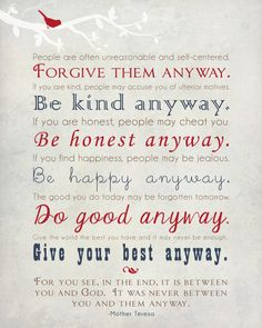 Mother Teresa Quote Wall Art Be Kind Anyway by thePurplePear