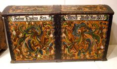 Norwegian Rosemaling, Pioneer Life, Historical Sites, Old World, Folk Art, Trunks, Decorative Boxes, Museum, Antiques
