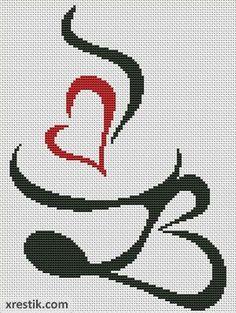 Кофе №16 Еда и напитки Монохром  Схема для вышивки scheme for cross stitch