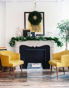 modern holiday fireplace mantle