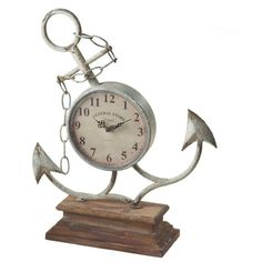 Midwest-CBK Anchor Clock ($55) ❤ liked on Polyvore featuring home, home decor, clocks, battery clock, midwest of cannon falls, vintage style home decor, battery operated clocks and battery powered clock