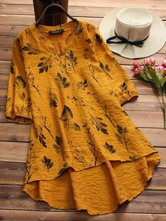 Vintage Leaves Print Irregular Hollow Half Sleeve Blouses For Women look not only special, but also they always show ladies' glamour perfectly and bring surprise. Come to NewChic to choose the best one for yourself! Stylish Dresses For Girls, Casual Dresses, Fashion Dresses, Kurta Designs Women, Kurti Neck Designs, Camisa Formal, Pakistani Dress Design, Womens Clothing Stores, Ladies Dress Design