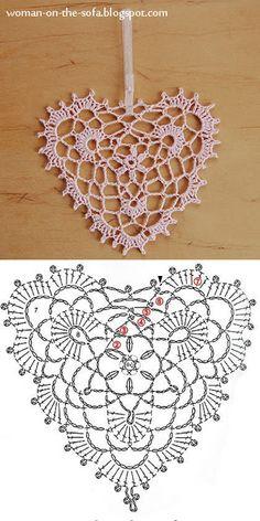 "Мастер-класс. Елочные игрушки крючком + схема.  Блог ""Женщина на диване с котом и вязанием"".  #EllaSilkWings Crochet Snowflake Pattern, Crochet Snowflakes, Crochet Motif, Crochet Doilies, Crochet Baby, Crochet Patterns, Knitted Heart, Crochet Christmas Ornaments, Sampler Quilts"