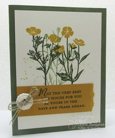 add interest to your banners - this card 4 ways! by Lyssa Griffin Zwolanek - Wild about Flowers stamp set - SU