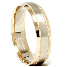 Mens Solid 14k White Yellow Gold 2 Two Tone 6mm Wedding Ring Band