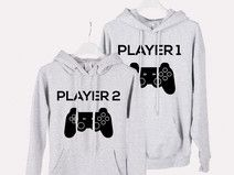 2 x HOODIE PLAYER 1 PLAYER 2 - GREY