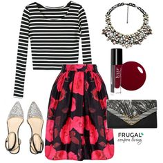 Frugal Fashion Friday Red & Black Floral Skirt Outfit. Polyvore Outfit of the Day. Red & Black Outfit.