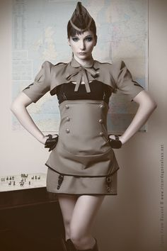 Aviator high waisted skirt. Ok, so not technically Steampunk, toss in a few Steampunk accessories and I could easily work!