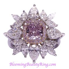 Fancy Pink Diamond Ring USA NEWAGE CT fancy purple pink diamond in the center surrounded by ct of marque and pear shape combination Pink Diamond Ring, Diamond Jewelry, Purple Jewelry, Diamond Brooch, Halo Diamond, Purple Rings, Gemstone Jewelry, Silver Jewelry, Bijou Box