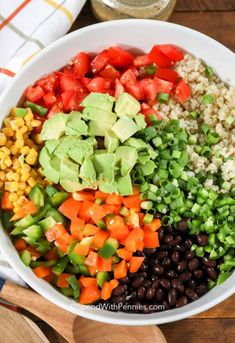 Cowboy Caviar - Spend With Pennies Black Bean Corn Salsa, Black Bean Quinoa, Salad Recipes, Healthy Recipes, Meal Recipes, Healthy Options, Vegetarian Recipes, Healthy Food, Salads