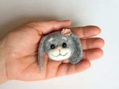 Felted Cute Bunny Brooch needle felted jewelry  by MrBearFamily