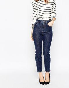 Mėlyni džinsai aukštu liemeniu | ASOS | Farleigh High Waist Slim Mom Jeans in Dallas Wash - Blue - ASOS.com | ShopSpy.lt