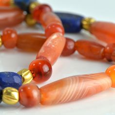 A Western Asiatic Gold, Lapis Lazuli and Carnelian Bead Necklace, ca. 3rd - 2nd millennium B.C.