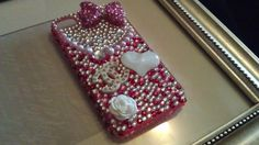Bling iPhone 4 Cell Phone Case Pink & White by babykakeskreations
