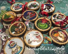 Handmade Wood Ornaments by NadilynBeatosArt on Etsy